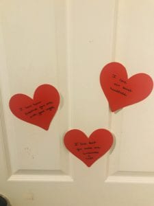 Valentine's Day activities, hearts on the door