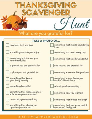 free printable Thanksgiving scavenger hunt for kids and adults