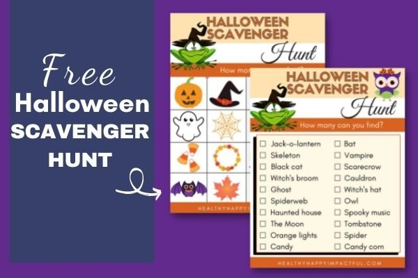 Halloween scavenger hunt for kids with free printables