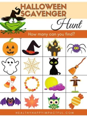 Free printable Halloween scavenger hunt for small kids at home