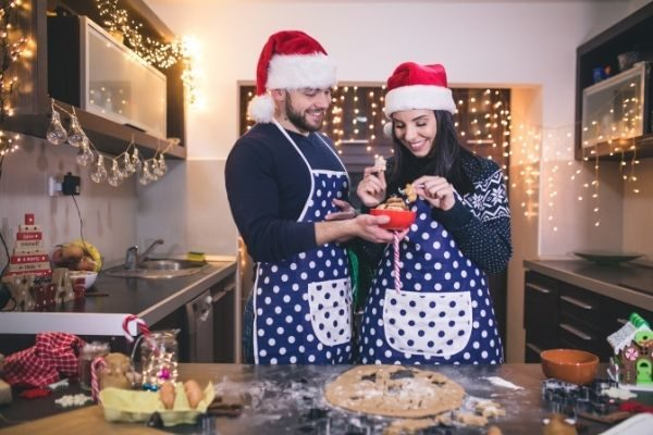 cute couples things to do at Christmas: have a baking day