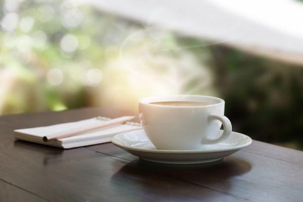 gratitude list examples for morning and night: cup of coffee