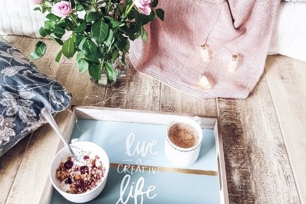 coffee, flowers, pillow - things to be thankful for at home