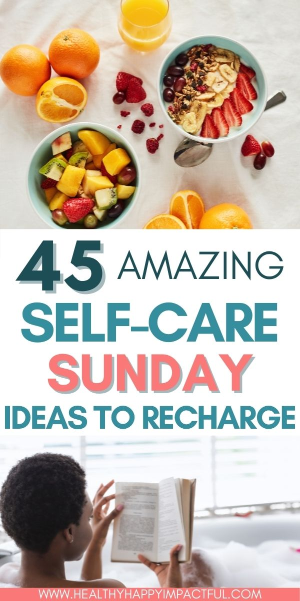 Amazing self care Sunday ideas to recharge pin