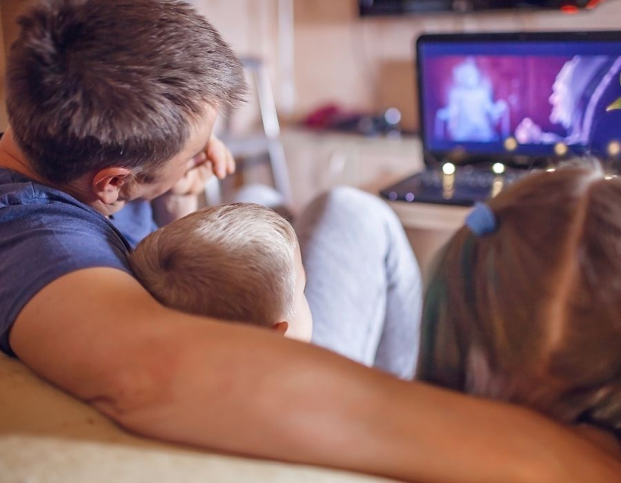 traditions for families examples you'll love: dad with arms around kids