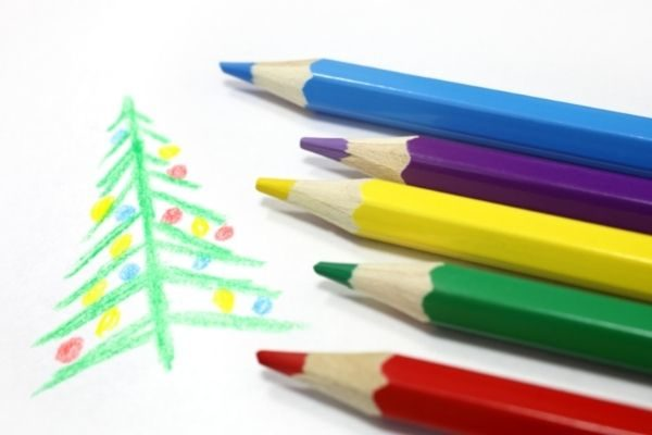 Christmas tree pictionary with colored pencils