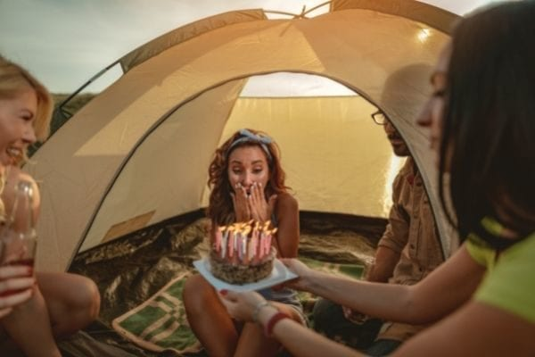 adventurous things to do for your birthday near me, girl camping with friends