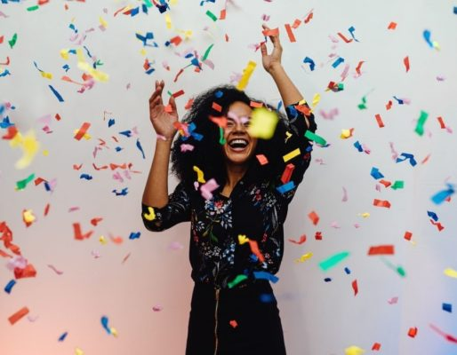 fun things to do for your birthday, woman and confetti