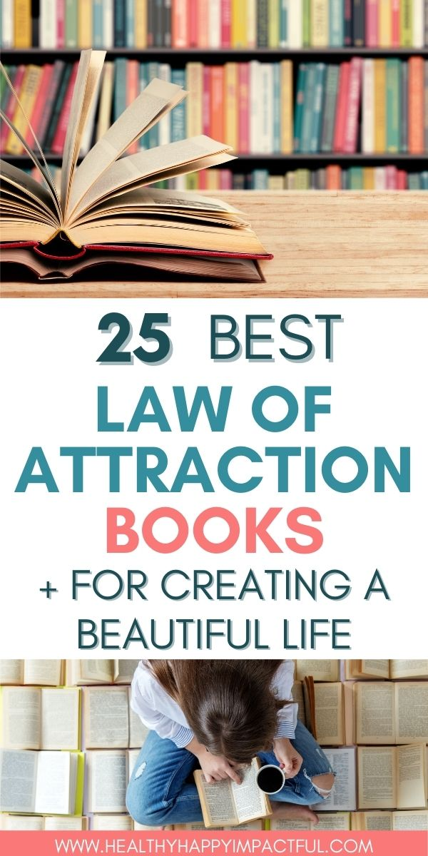 books on law of attraction pin, women reading