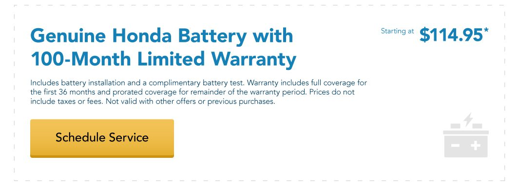 Genuine Honda Battery with 100-Month Limited Warranty